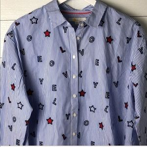 Boden Embroidered  Love Cotton Shirt - NEW